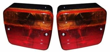 2 x TRAILER CARAVAN LAMPS 4 FUNCTION 12v REAR BOARD LIGHTS rear bake side